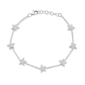 14K White Gold Diamond Star Bracelet