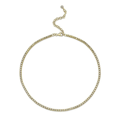 14K Yellow Gold Diamond Illusion Tennis Necklace