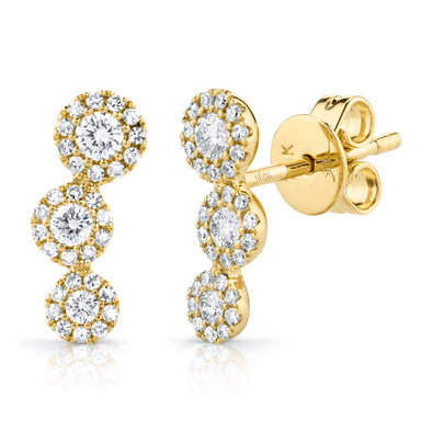 14K Yellow Gold Diamond Triple Halo Ear Climbers