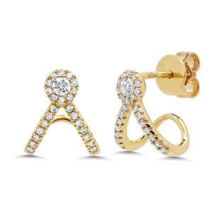 14K Yellow Gold Diamond V Huggie Earring