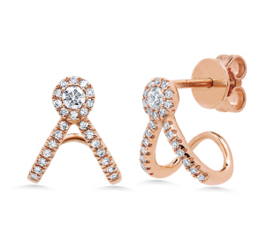 14K Rose Gold Diamond V Huggie Earring