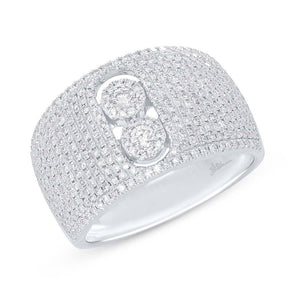 14K White Gold Diamond Pave Slider Ring