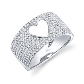 14K White Gold Diamond Open Heart Wide Pave Ring