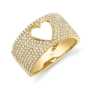 14K Yellow Gold Diamond Open Heart Wide Pave Ring