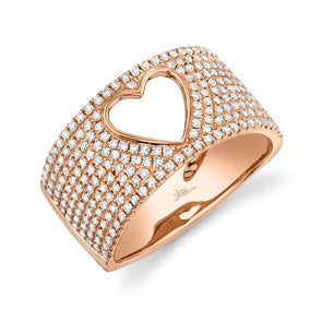 14K Rose Gold Diamond Open Heart Wide Pave Ring