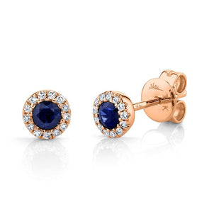 14K Rose Gold Diamond + Blue Sapphire Earrings
