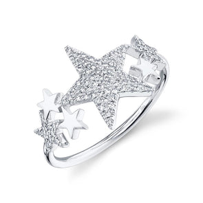 14K White Gold Diamond Star Constellation Ring