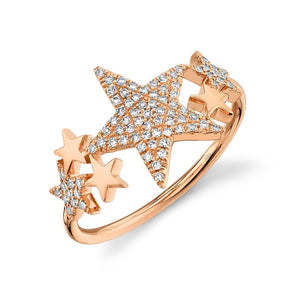 14K Rose Gold Diamond Star Constellation Ring