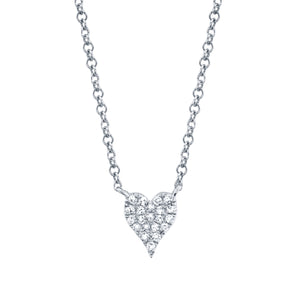 14K White Gold Pave Diamond Heart Necklace (Mini)