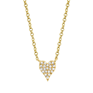 14K Yellow Gold Pave Diamond Heart Necklace (Mini)