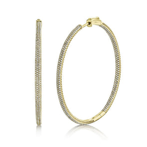 14K Yellow Gold Diamond Pave Hoop Inside/Outside Earrings