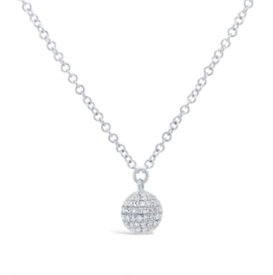 14K White Gold Diamond Pave Ball Necklace