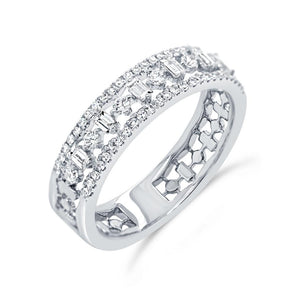 14K White Gold Round+Baguette Diamond Band