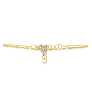 14K Yellow Gold Diamond Pave Heart Bracelet