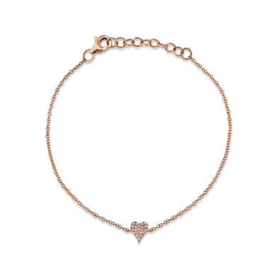 14K Rose Gold Diamond Pave Heart Bracelet