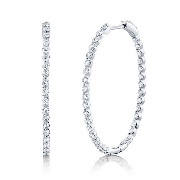 14K Diamond Inside Out Oval Hoop Earrings