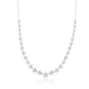 14K White Gold Diamond Pave Star Necklace