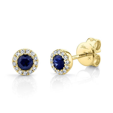 14K Yellow Gold Diamond + Blue Sapphire Earrings