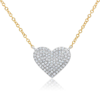 14K White & Yellow Gold Diamond Heart Necklace