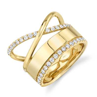 14K Yellow Gold Diamond Polished Crossover Ring