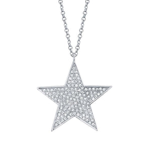14K White Gold Diamond Large Pave Star