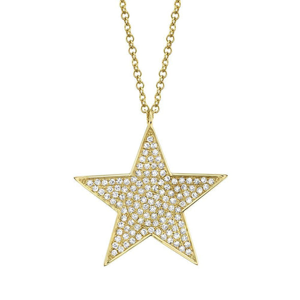 14K Rose Gold Diamond Large Pave Star