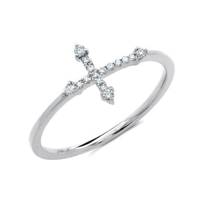 14K White Gold Diamond Cross Ring