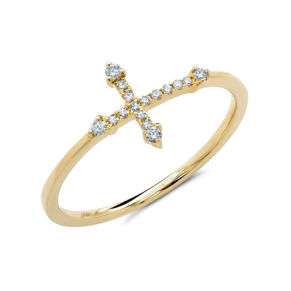 14K Yellow Gold Diamond Cross Ring