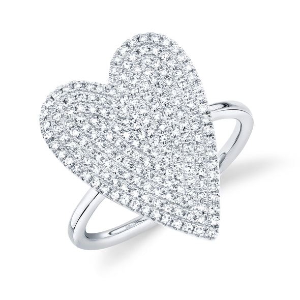 14K White Gold Diamond Pave Heart Ring