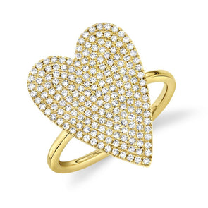 14K Yellow Gold Diamond Pave Heart Ring