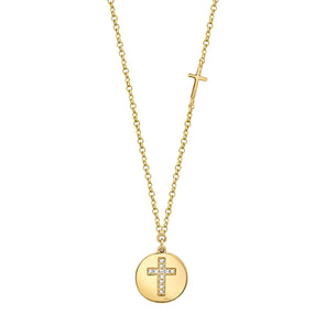 14K Yellow Gold Diamond Cross Disc Necklace
