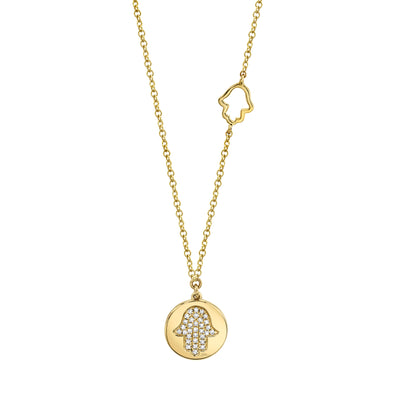14K Yellow Gold Diamond Hamsa Disc Necklace