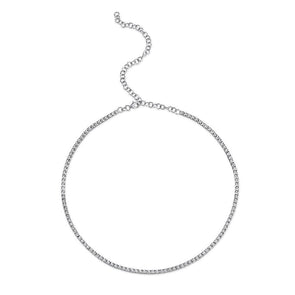 14k White 0.95ct Diamond Tennis Adjustable Necklace