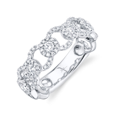 14K White Gold Diamond Halo Link Ring