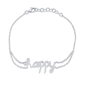 "14K White Gold Diamond ""HAPPY"" Bracelet"