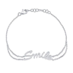 "14K White Gold Diamond ""SMILE"" Bracelet"