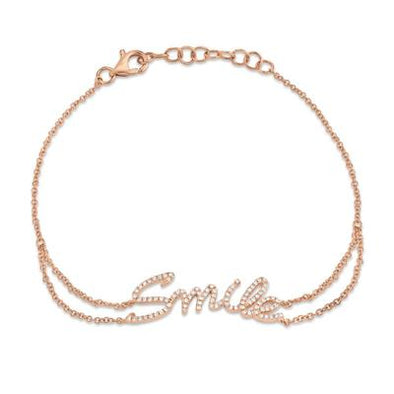 "14K Rose Gold Diamond ""SMILE"" Bracelet"