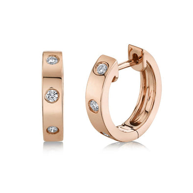 14K Rose Gold Diamond Mini Huggie Earring