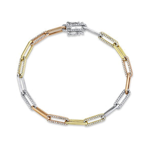 14K Multitoned Diamond Paper Clip Link Bracelet
