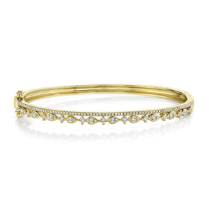 14K Yellow Gold Diamond Double Row Bangle