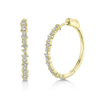14K Yellow Gold Round+Baguette Diamond Hoop Earrings