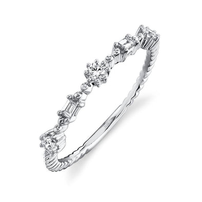 14K White Gold Diamond Beaded Band