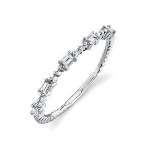 14K White Gold Diamond Baguette Band