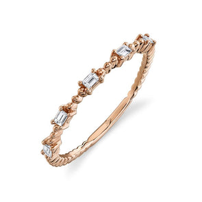 14K Rose Gold Diamond Baguette Band