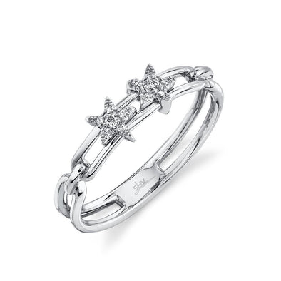 14K White Gold Diamond Star Slider Ring
