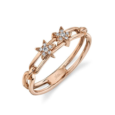 14K Rose Gold Diamond Star Slider Ring