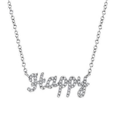 "14K White Gold Diamond ""HAPPY"" Necklace"
