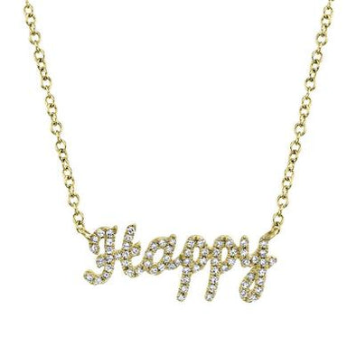 "14K Yellow Gold Diamond ""HAPPY"" Necklace"