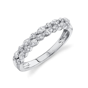 14K White Gold Marquise Diamond Double Row Band