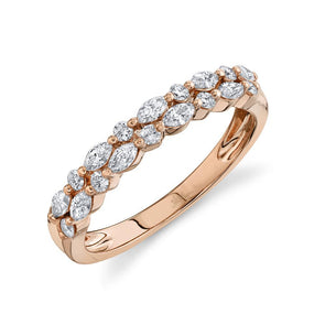 14K Rose Gold Marquise Diamond Double Row Band